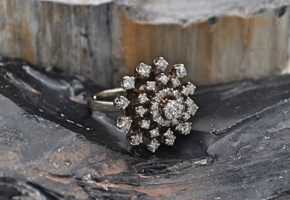 Lady's Antique 1.00 Carats Cluster Dome Miner Cut Diamond 14kt White Gold Ring - Finger Size 8