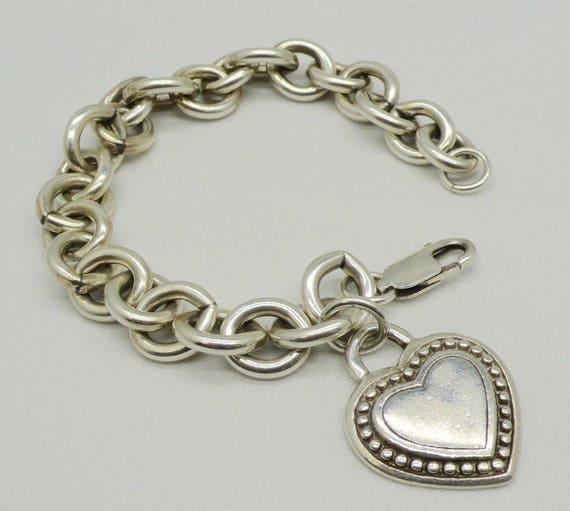 Vintage Judith Ripka Sterling Silver Heart Charm Link Bracelet