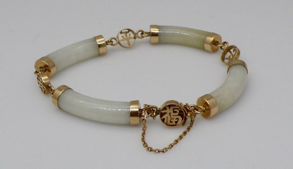 "Vintage Light Green Jade & 14kt Yellow Gold with Chinese Characters ""Good Luck"" ""Long Life"" ""Peace"" Bracelet"