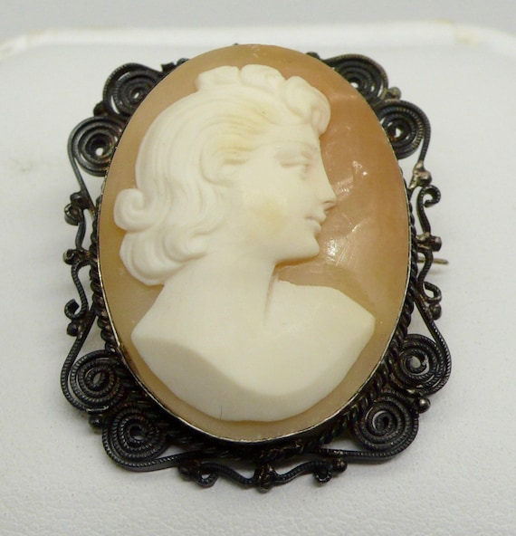 Vintage Shell Cameo Sterling Silver Pin Brooch