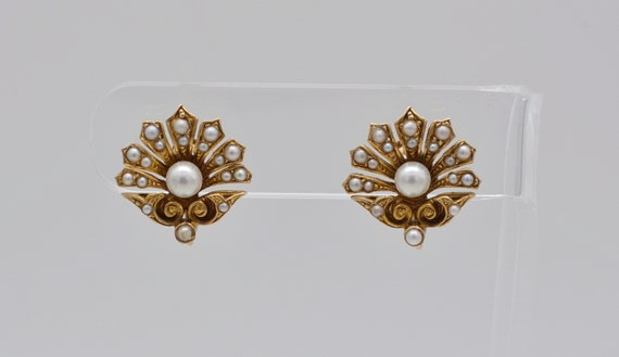 Antique Victorian 14k Yellow Gold, Pearl and Seed Pearl Pansy Flower Style Earrings, Screw-Back Pressure Fastener Non-Pierce