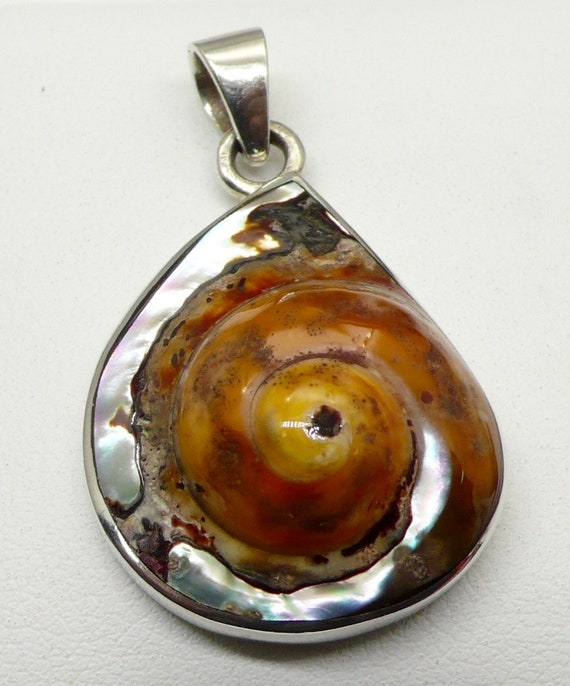 Vintage Sterling Silver with Hermit Mollusc Abalone Shell Pendant