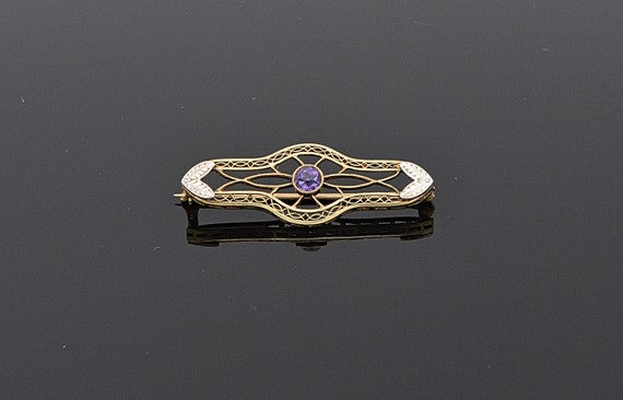 Antique 1930's Art Deco Open Design 14kt Gold Brooch with Round Amethyst