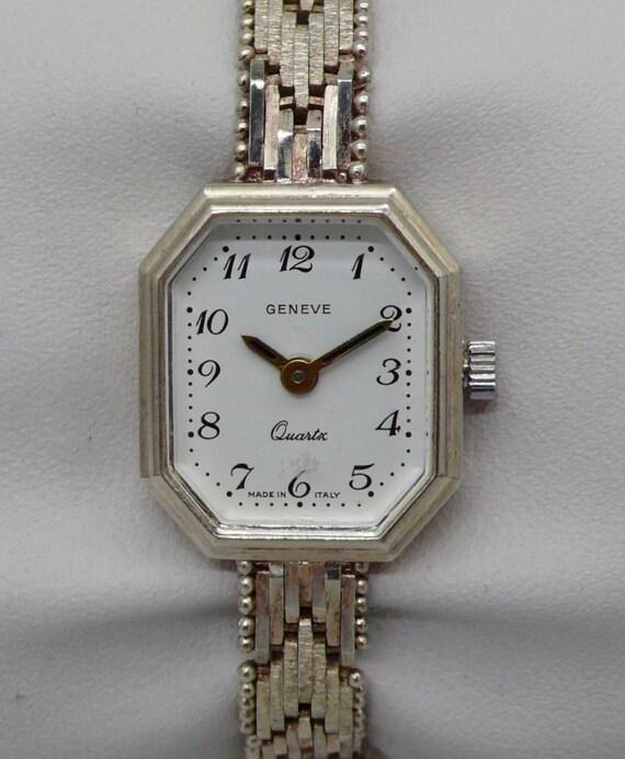 Vintage Milor ITaly Geneve Sterling Silver & Amethyst Lady's Wristwatch