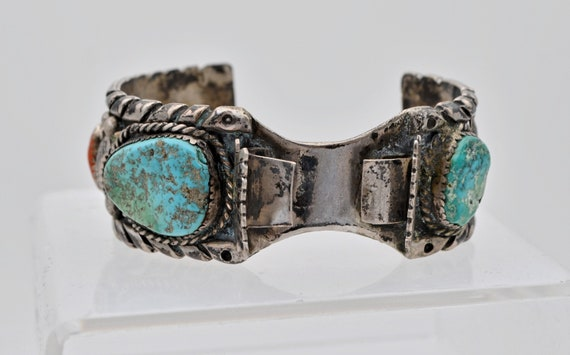 Native American Navajo Lady's Turquoise & Coral Sterling Silver Off-Set Watch Cuff - Unsigned