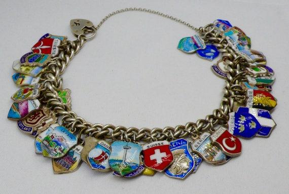 Vintage Silver European Enamel City, Country, 42 Charm Bracelet