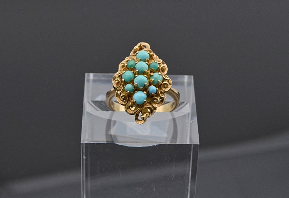 Vintage Victorian Filigree Cluster Persian Turquoise 18kt Yellow Gold Lady's Ring - Finger Size 6