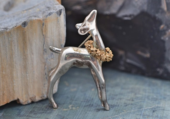 BAB Sterling silver and 14kt yellow gold Deer Wearing Holiday Wreath Figural Brooch