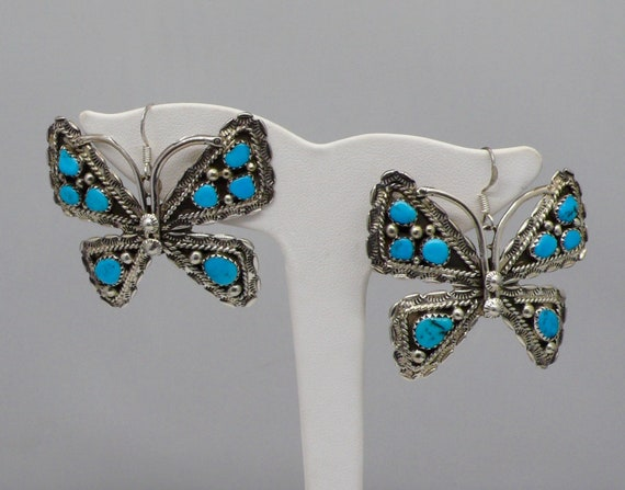 Vintage Large Southwestern Butterfly Earrings in Sterling Silver and Turquoise