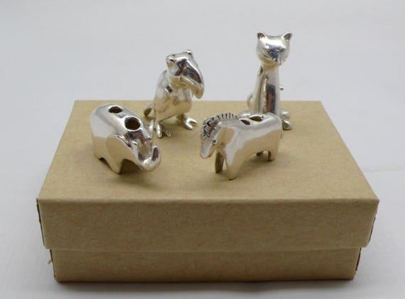 Lot of 4 Sterling Silver Slider Animal Pendants / Elephant / Toucan, Kitty Cat / Horse