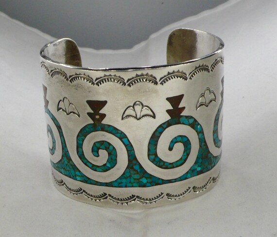 Vintage Navajo Turquoise Mosaic Large Sterling Silver Cuff Bracelet Signed