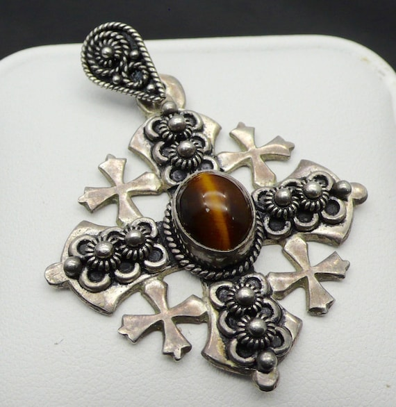 Vintage Jerusalem Cross with Beautiful Tiger's Eye Silver Pendant