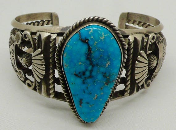 Vintage Native American Navajo Large Turquoise and Heavy 67.8 grams Sterling Silver Cuff Bracelet by Leonard James