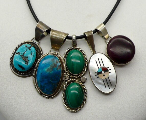 Lot of 5 Vintage Sterling Silver Pendants Navajo, Zuni with Turquoise, Malachite, MOP, and Onyx