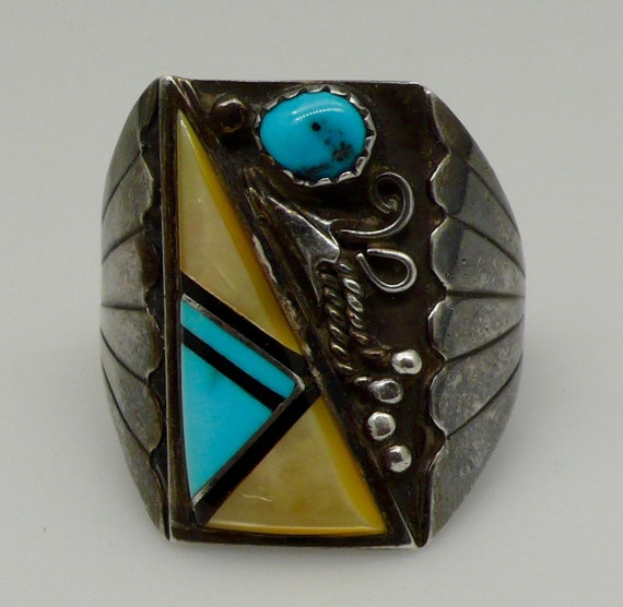 Native American Sterling Silver Turquoise Ring By Bennie Bowekaty
