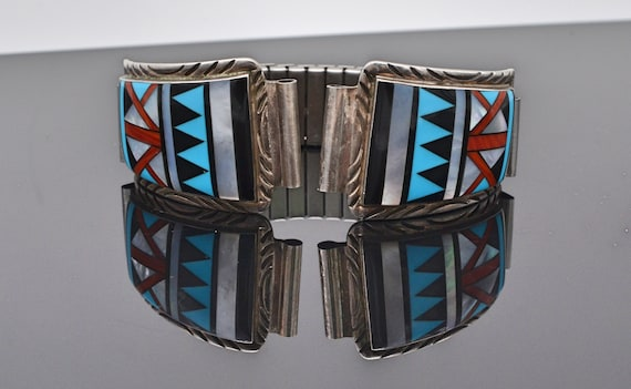 Stunning Vintage Paiute Michael R. Rogers Turqoise, Onyx, Coral, MOP Inlaid Sterling Silver Watch Tips with Band