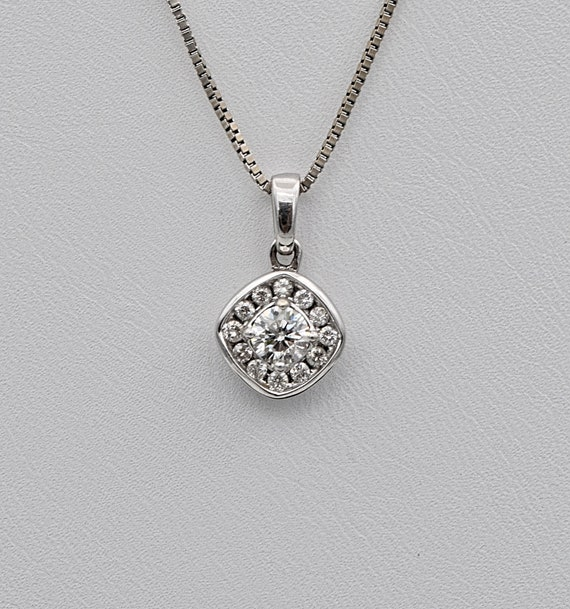 "Beautiful 14k White Gold .50ctw Diamond Pendant with 22"" Box Link 14k White Gold Chain"