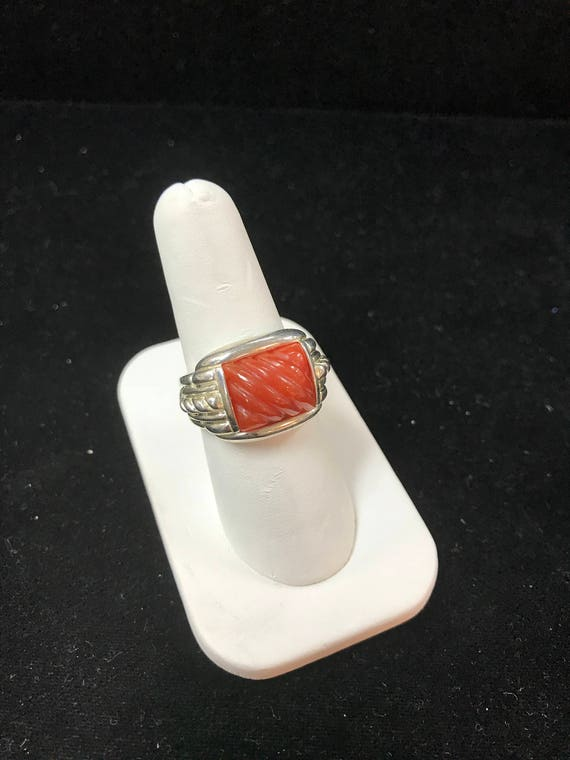 Vintage Coral inspired Sterling Silver Ring by Judith Ripka