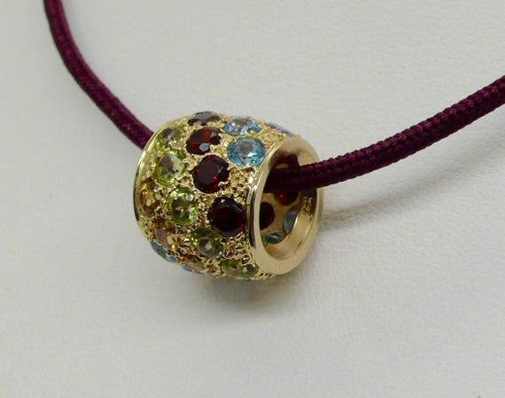 14kt Yellow Gold Barrel Slider Pendant with Multi Colored Stones