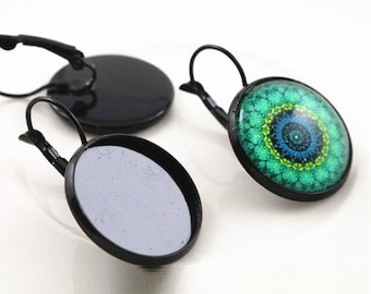 20mm, 6 black Stud Earrings (3 pairs of earrings)