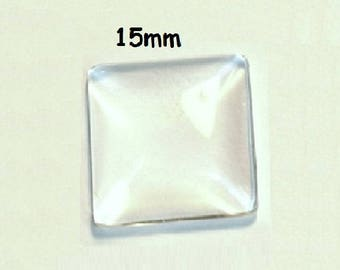 10 square 15mm, transparent glass cabochons