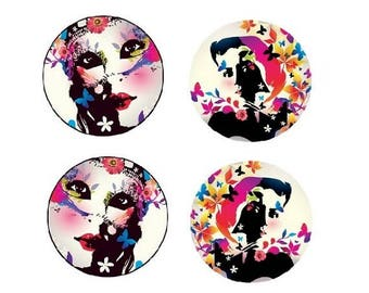 18mm, 2 pairs of cabochons woman (mirror photo)