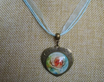 pink pattern heart necklace (flower)