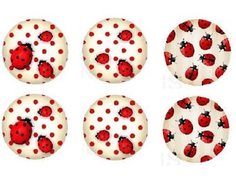 16mm, 6 cabochon ladybirds