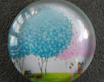 30mm cabochon blue tree of life