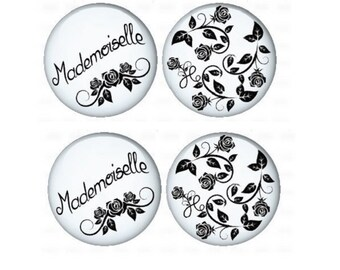 20mm, 4 cabochons mademoiselle and flowers