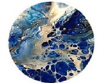 30mm, blue and silver abstract