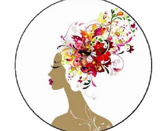 cabochon femme chignon fleurs, 18mm