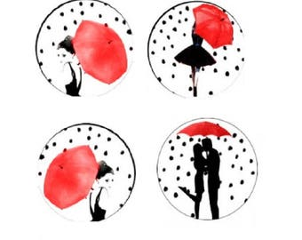 12mm, 4 cabochons woman and couple with umbrella