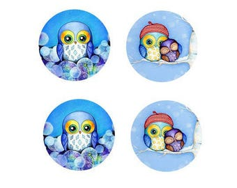 12mm set of 2 pairs of little owls