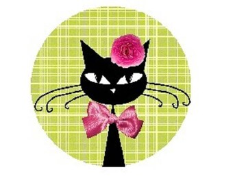 25mm, pink bow cat