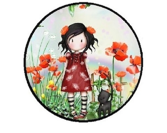 """25mm, cabochon """"Lady and her cat"""" (flowers)"""