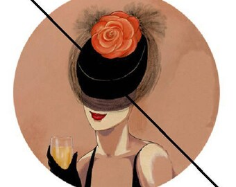 women Black Hat and veil 30mm