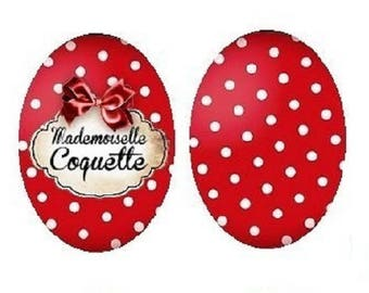 """""""18x25mm cabochons 2 ' mademoiselle coquette"""" and polka dots"""