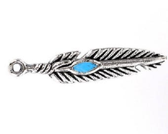 set of 18 charms feather