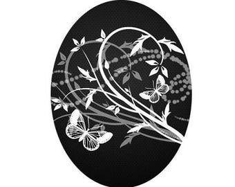 18x25cm, butterflies and flowers, white on black