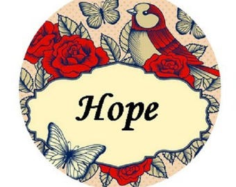 "cabochon 20mm, hope, Hope, ""love bird"""