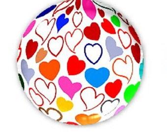 20mm, multicolored hearts