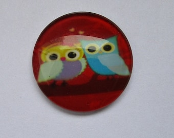 25mm, cabochon 2 owls in love