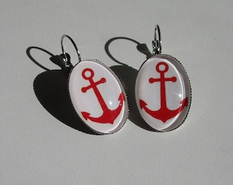 beautiful red anchor earrings