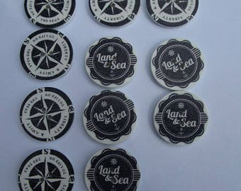 11 wooden buttons, 25mm, Navy theme