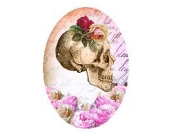skull and roses, 18x25mm
