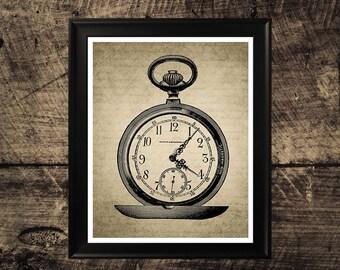 Vintage Pocket Watch print, clock print, pocket watch art, clock wall decor, vintage clock wall decor