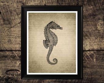 Seahorse print, vintage seahorse wall art, printable seahorse, wall design, vintage home decor, sea life art