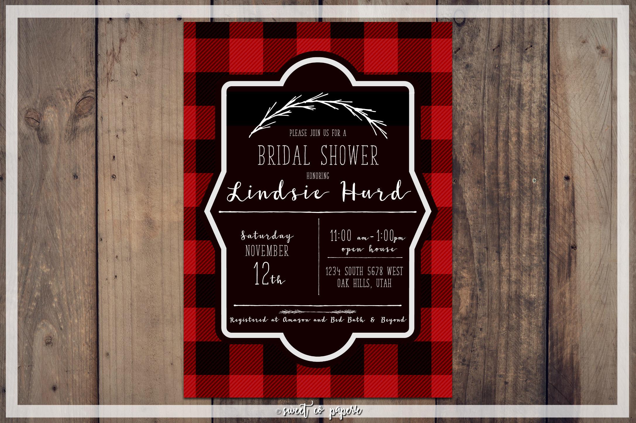 LUMBERJACK BRIDAL SHOWER Digital Invitation Bridal Shower | Etsy