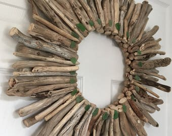 "Free Shipping !! cape Breton Nova Scotia Driftwood Wreath 20""-22"" with Green Sea Glass Accents."